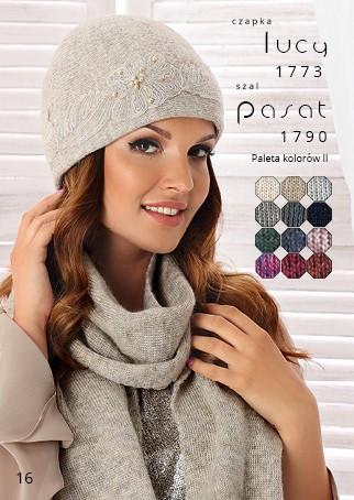Женская шапка с нежным цветком коллекция Betina Luxury Польша