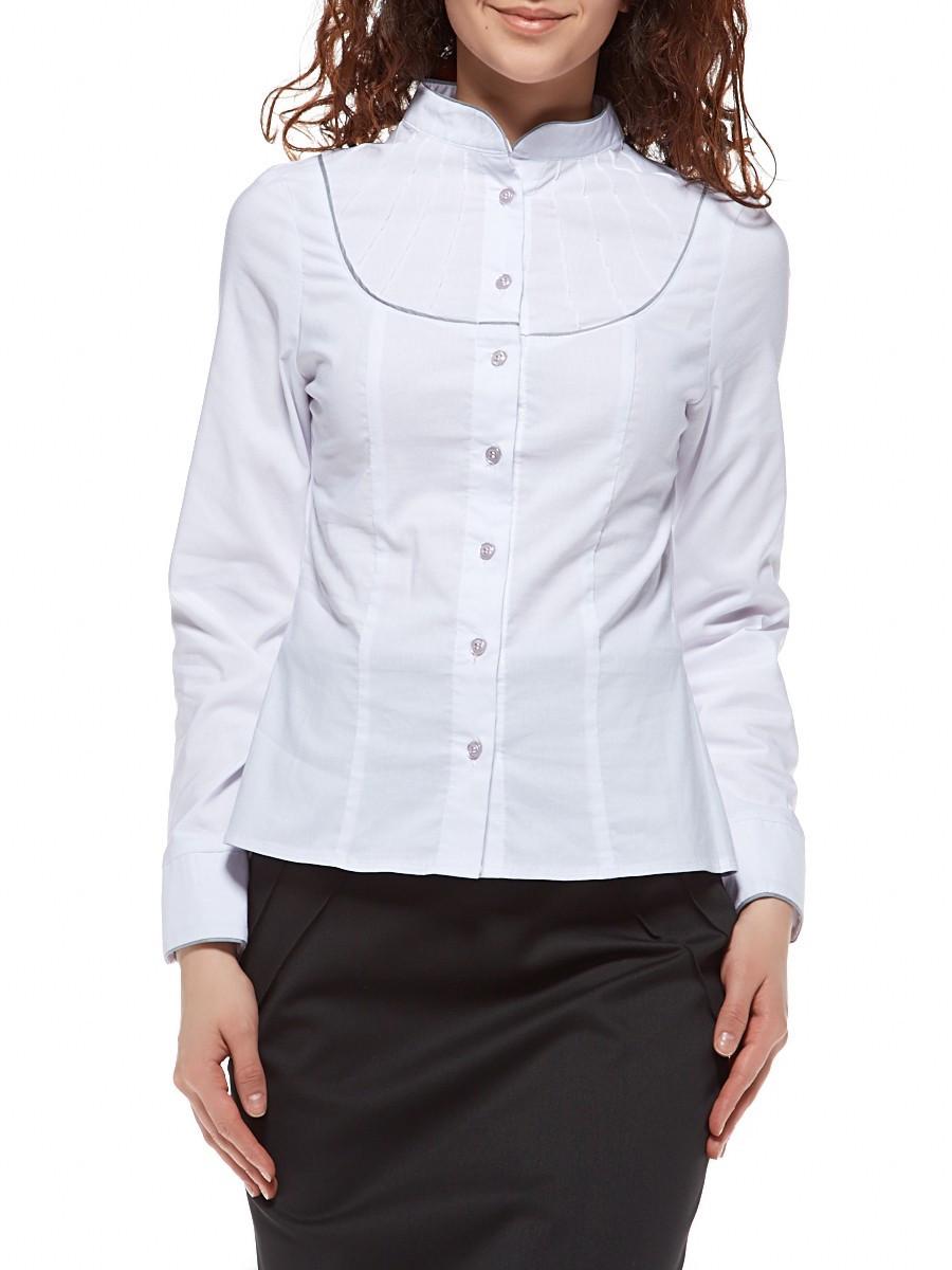 Белая блузка с декоративной кокеткой Р70