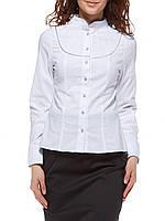 Белая женская блузка с декоративной кокеткой Р70