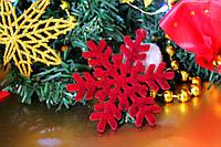Новогодняя игрушка-снежинка, бархатная