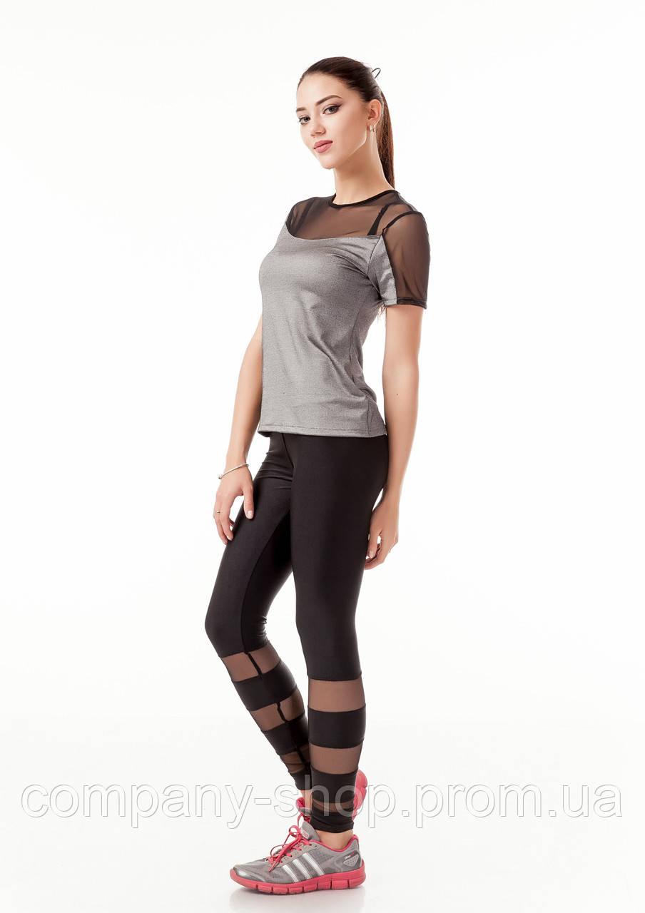 Спортивная женская футболка с сеткой на груди. Модель К086_сталька.