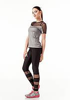 Спортивная женская футболка с сеткой на груди. Модель К086_сталька., фото 1
