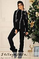 Теплый женский костюм с мехом в капюшоне черный