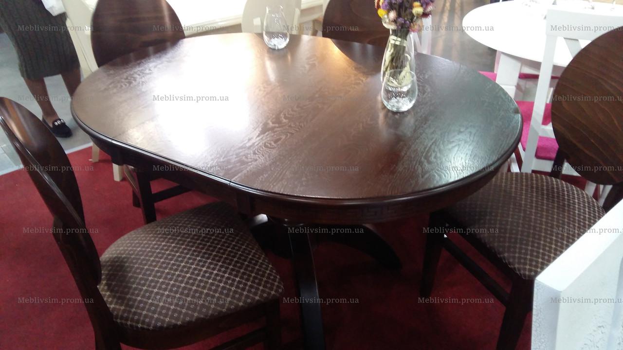 Раскладной стол для кухни круглый Престиж Микс мебель, цвет темный орех