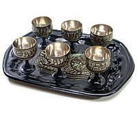 Рюмки бронзовые черные на подносе (н-р 6 шт/40мл.) (рюмки h-5,5 см поднос 23х16 см)