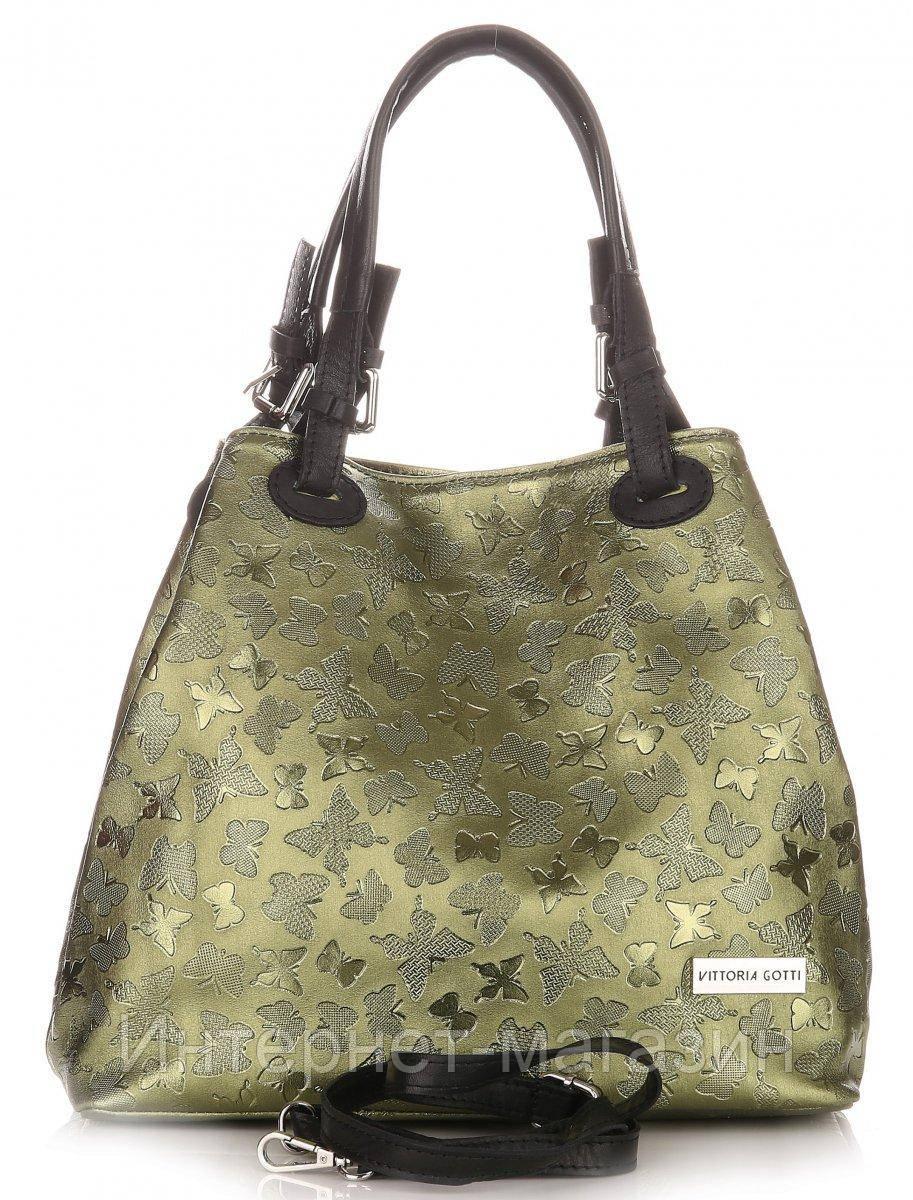 8ef9bcb1a104 Уникальная итальянская сумка VITTORIA GOTTI из натуральной кожи, зеленого  цвета с тиснением бабочек - Интернет