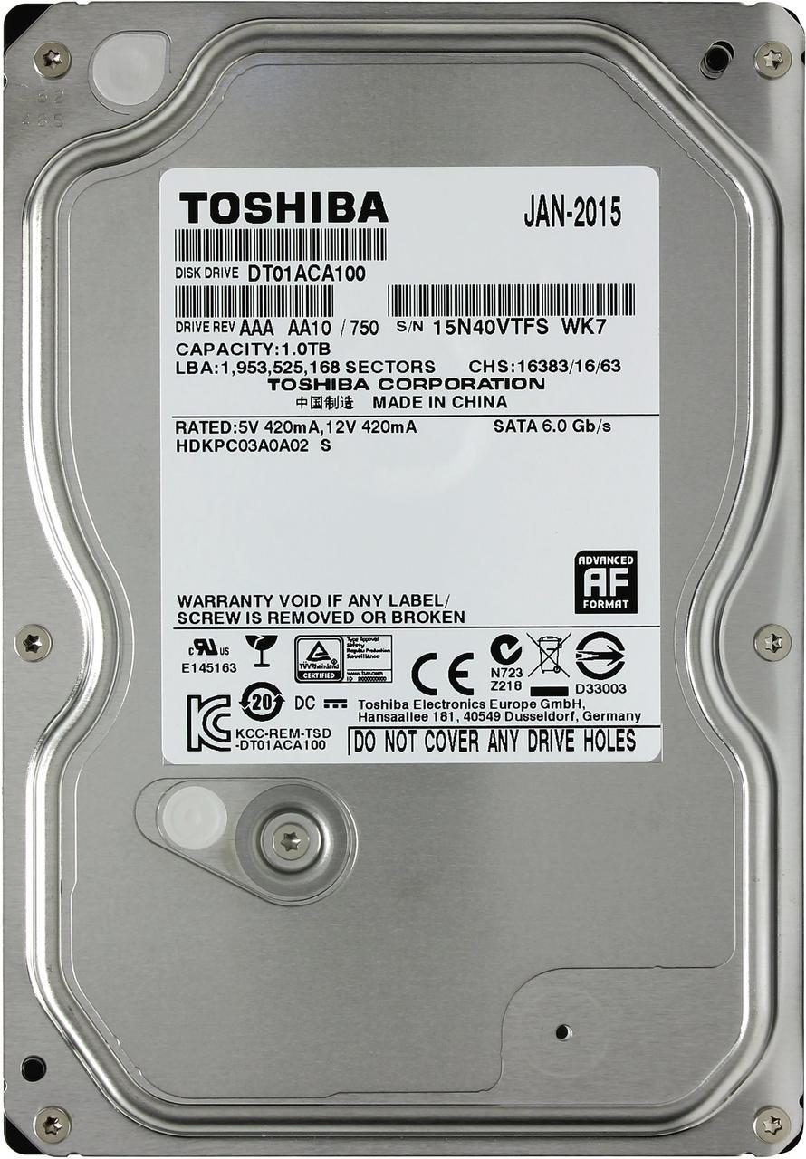 Винчестер 1TB Toshiba DT01ACA100 SATA III, 7200rpm, 32МВ