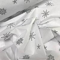 Польская бязь серые снежинки на белом № 811