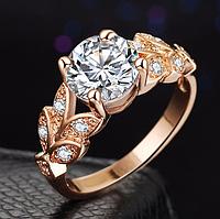 Позолоченное кольцо женское с белыми цирконами код 1284 р 19