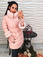 Женское пальто еврозима с воротником стойкой и трикотажными рукавами