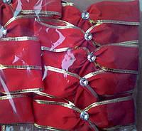 Новогоднее украшение на елку бант   Бархат Красный  15*14 см