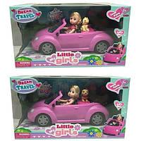 Кукла маленькая 63016  2 вида,в машине,с питомцем,расческа