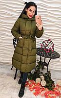 Женское пальто еврозима с поясом и капюшоном