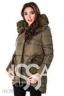 Ledi M Женская куртка с мехом IS 4170 хаки Леди М