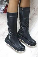 Зимние кожаные черные сапоги на высокой подошве р 41