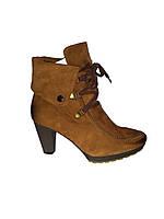 Кожаные польские женские зимние модные коричневые полусапожки Kordel 4380