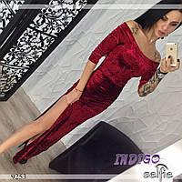 """Платье женское вечернее в пол из бархата """"Шади"""""""