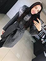 """Женское стильное качественное зимнее шерстяное пальто с капюшоном и мехом """"Алиса"""" (2 цвета)"""