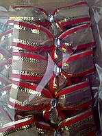 Новогоднее украшение на елку бант   золотой с красной полосой 15*14 см