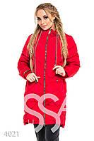 Ledi M Женская дутая курточка до колен IS 4021 красный Леди М