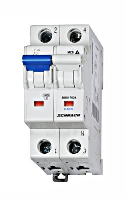 Автоматический выключатель BM 10кА 1P + N 10A х-ка C 40 ° С Schrack