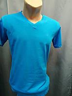 Голубая футболка с V-образной горловиной Rake