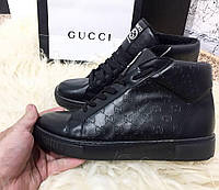 Обувь Gucci Signature High Top Black Мужские