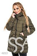 Ledi M Женская длинная теплая куртка IS 4033 хаки Леди М