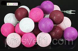 Тайский фонарик  гирлянда Cotton Ball 20LED 6м d=6см