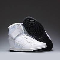 Зимние женские высокие кроссовки Nike Dunk High White (найк) с мехом