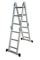 Лестница алюминиевая трансформер 3 ступени х 4 секции  (Н 3,1м; 12кг)