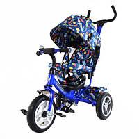 детский трехколесный велосипед TILLY Trike T-351-10 синий с большими надувными колесами