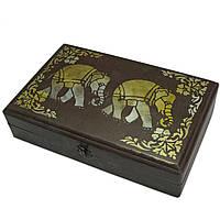 """Футляр для бокалов """"Слоны"""" массив дерева (31х20х7,5 см)"""