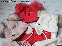 Детский комплект: шапка с ушками на тесемках и шарф