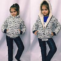 Детский теплый зимний спортивный костюм для девочки на овчинке и синтепоне , фото 1