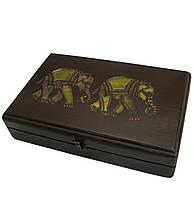 "Футляр для бокалов резной ""Слоны"" массив дерева (31х20х7,5 см)"