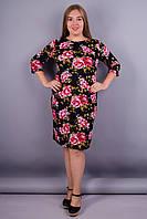 Арина француз принт. Платье нарядное супер батал. Цветок розовый на черном.