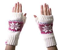 Варежки-рукавички без пальцев (митенки) WHITE