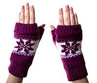 Варежки-рукавички без пальцев (митенки) Dark-Pink