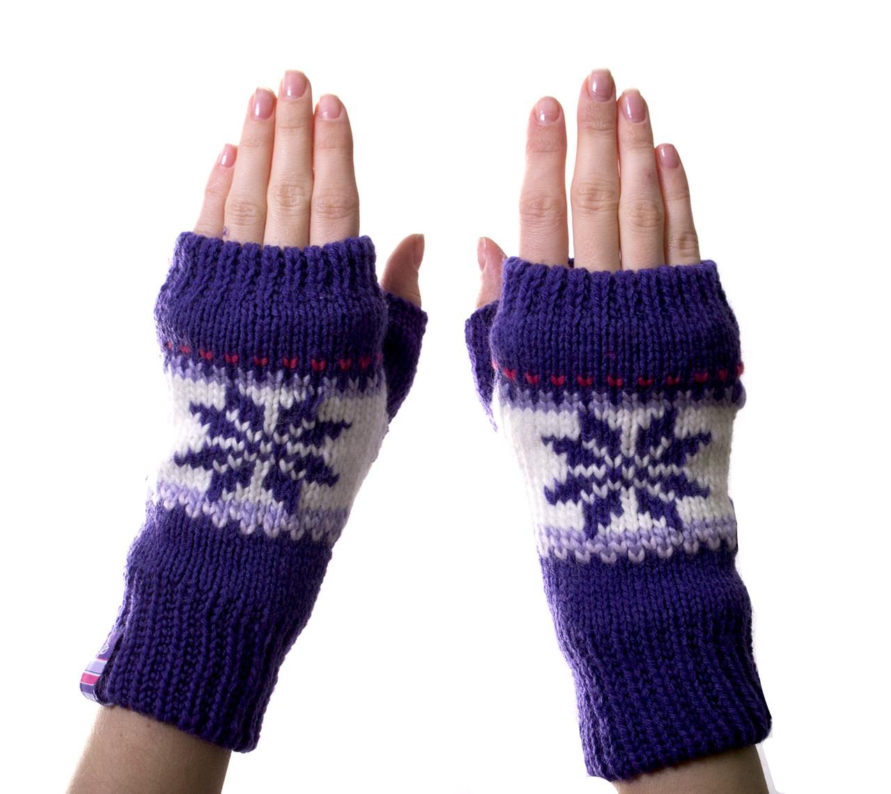 Рукавиці-рукавички без пальців (мітенки) Purple