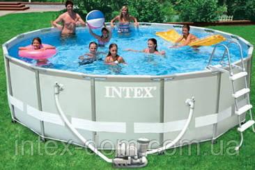 28326 Каркасный бассейн 54470 Intex 488х122 с полным комплектом +хлоргенератор