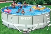 28326 Каркасный бассейн 54470 Intex 488х122 с полным комплектом +хлоргенератор, фото 1