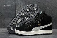 Зимние кроссовки мужские Puma 3663 чёрные с серыми вставками