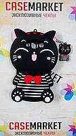 Объемный 3D силиконовый чехол для Samsung J510 Galaxy J5 2016 Черный котик моряк