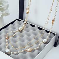 Ожерелье из жемчуга ювелирная бижутерия позолоченное 3544