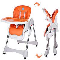 Стульчик для кормления Bambi Оранжевый (M 3216-2-7) на колесиках, фото 1