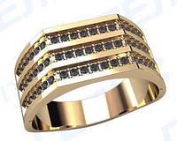 Мужское золотое кольцо 9