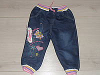 """Теплые джинсы на махре для девочки """"Бабочка"""" размеры 4,5,6,7 лет (маломерят)"""