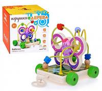 Деревянная игрушка Лабиринт- каталка Бабочка (Д116)