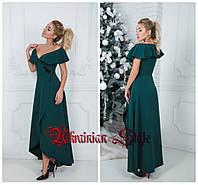 Красивое однотонное вечернее платье в пол с декольте. 3 цвета!